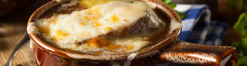 Homemade French Onion Soup with Cheese and Toast