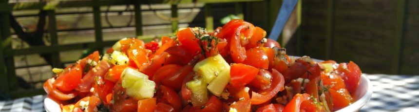 Spiced cherry chilli and cherry tomato salad
